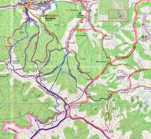 Мапа маршруту (1 день червоним, 2 і 3 день - синім)